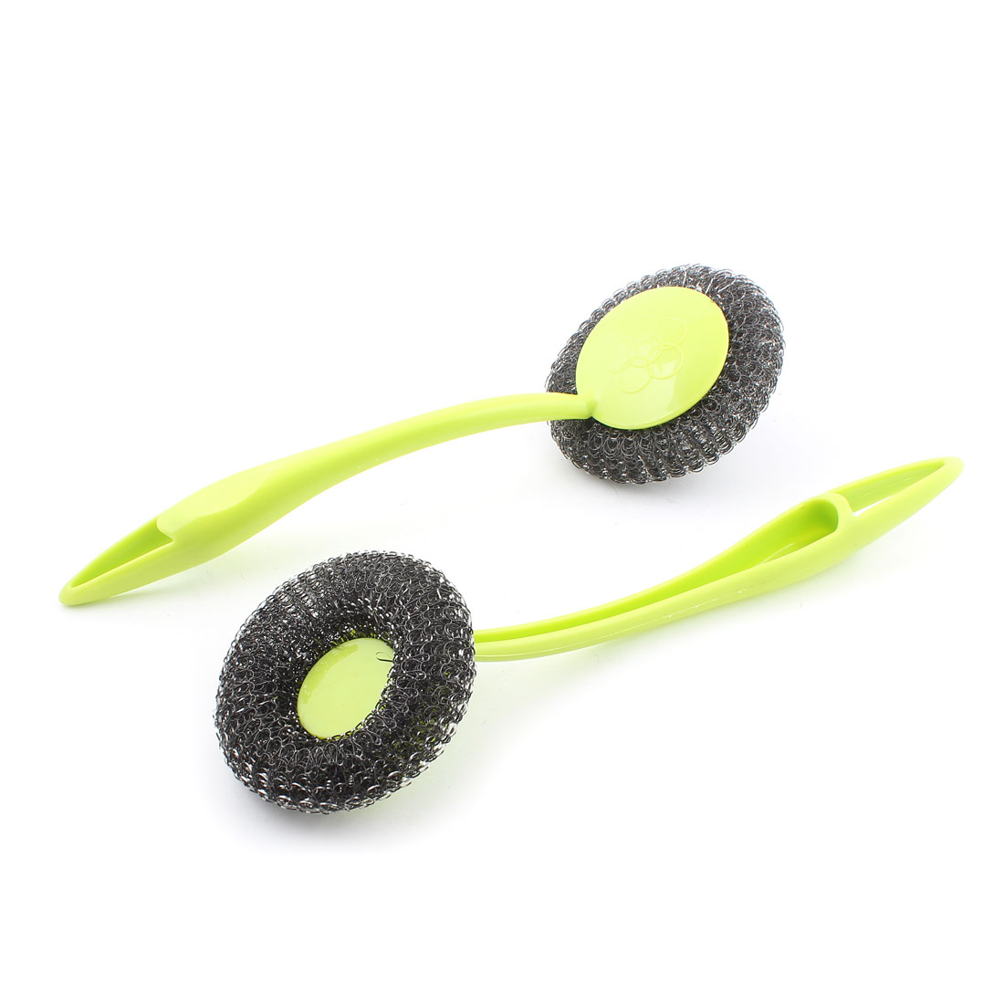 Kitchenware Plastic Handgrip Pan Pot Bowl Cleaning Tool Steel Wire Ball Brush Green 2PCS