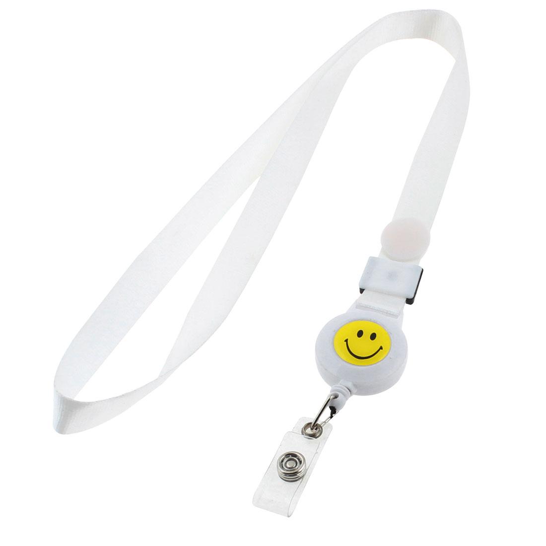 Smile Face Pattern Key Chains Neck Strap Keys ID Card Lanyard White