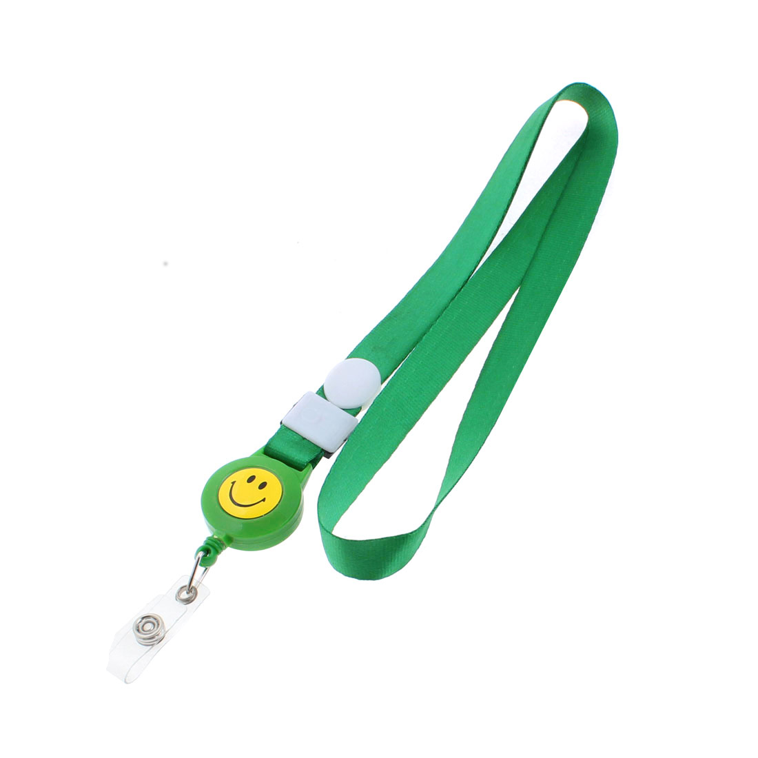Smile Face Pattern ID Work Card Badge Holder Neck Vertical Strap Lanyard Green