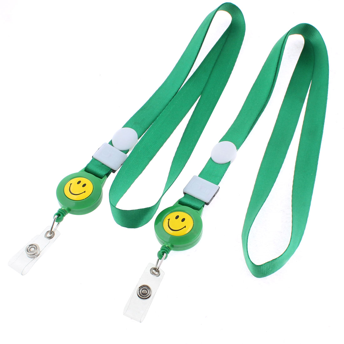 Smile Face Pattern Work School ID Card Tag Badge Holder Lanyard Neck Strap Green 2PCS