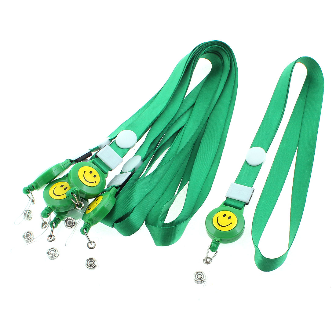 Work Name ID Card Badge Holder Lanyard Smile Face Pattern Strap Green 6PCS