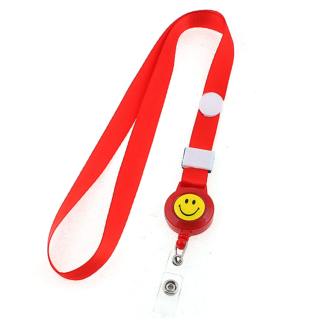Smile Face Pattern Lanyard Badge Holder Office ID Card Neck Strap Red