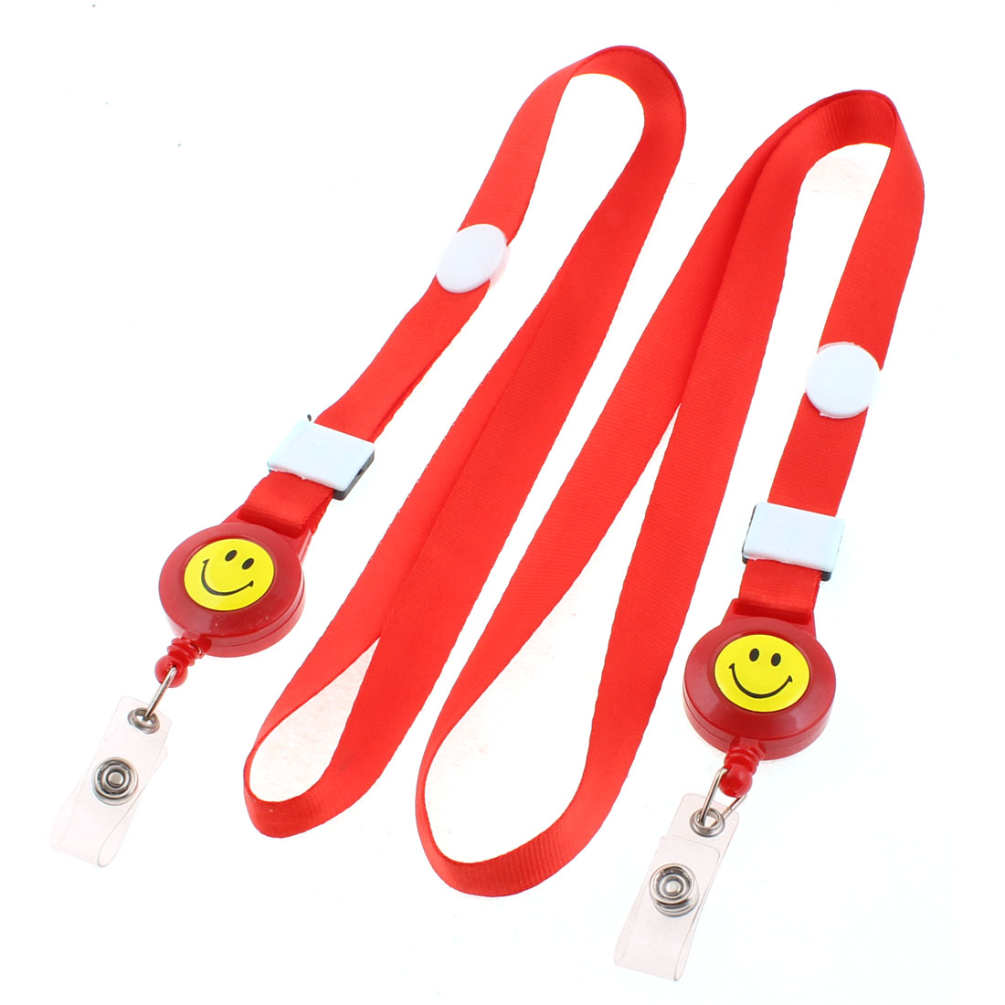 Smile Face Pattern Employee Work Tag Holder ID Card Strap Red 2PCS