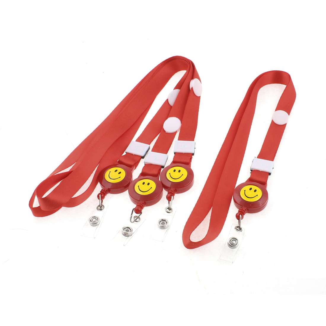 Smile Face Pattern Work School Exhibition Badge ID Card Holder Strap Red 4PCS