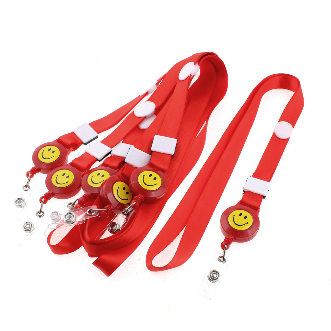 Office Name ID Card Tag Badge Holder Smile Face Pattern Neck Strap Red 6PCS