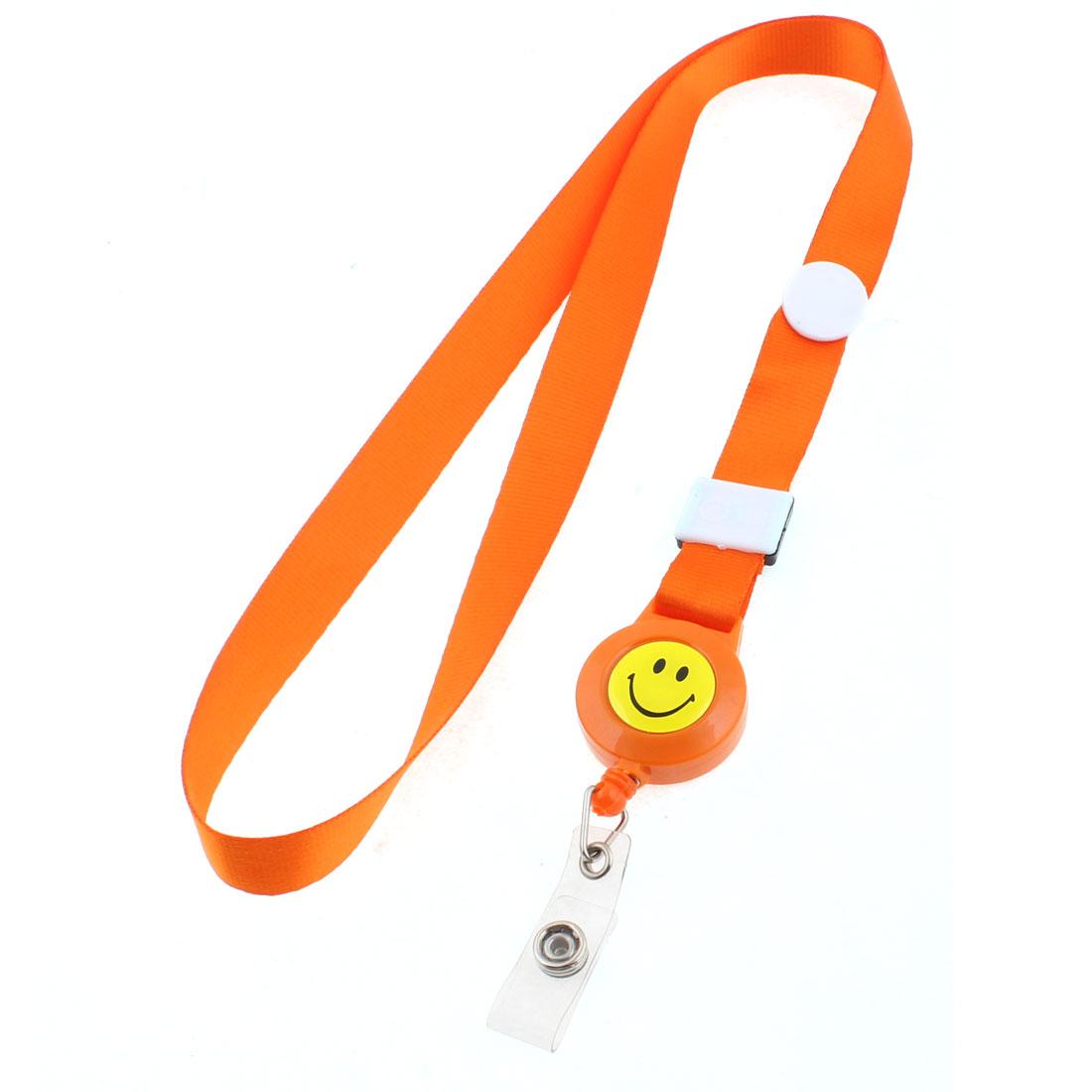 Smile Face Pattern Company Exhibition Work ID Card Holder Neck Strap Orange
