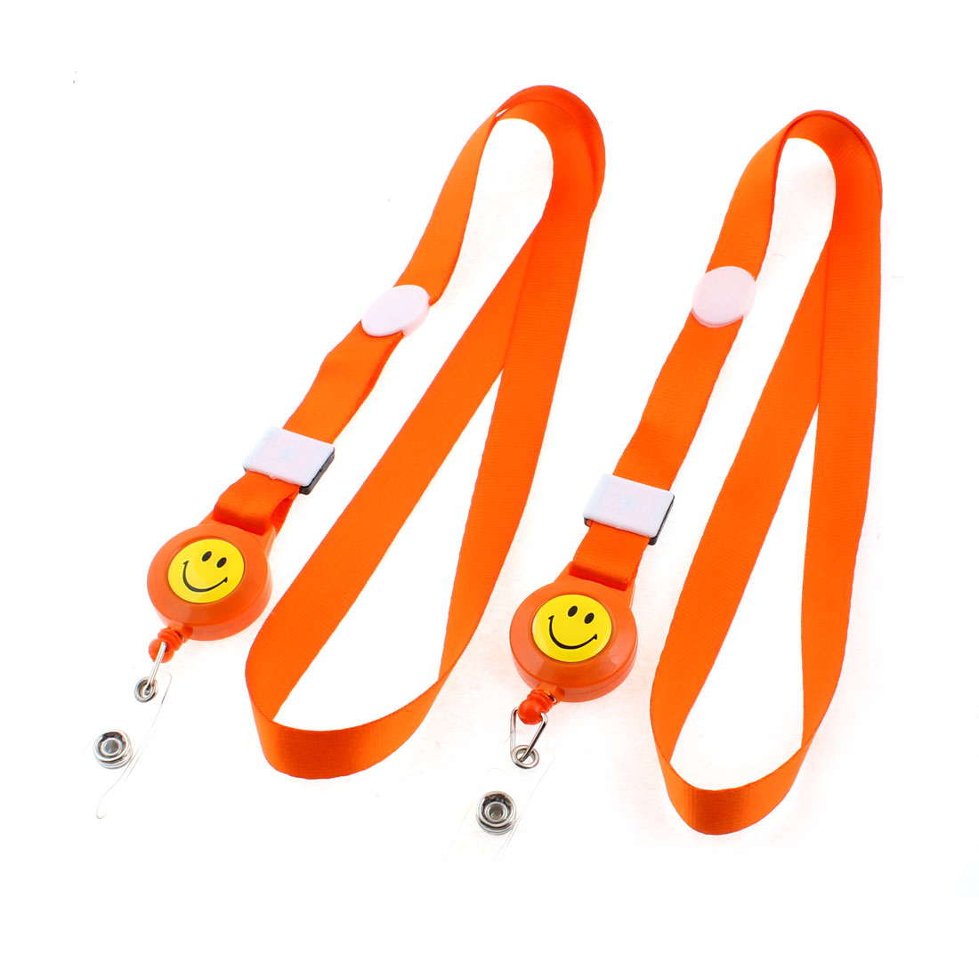 Smile Face Pattern Name Company Photo ID Card Holder Neck Strap Orange 2PCS