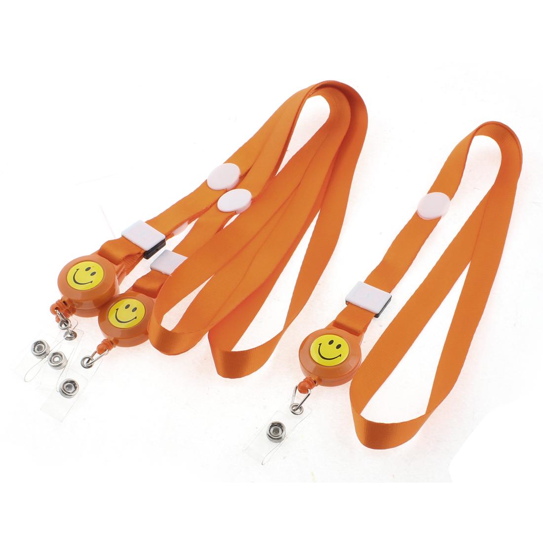 Smile Face Pattern Name Company Position ID Card Holder Neck Strap Orange 4PCS