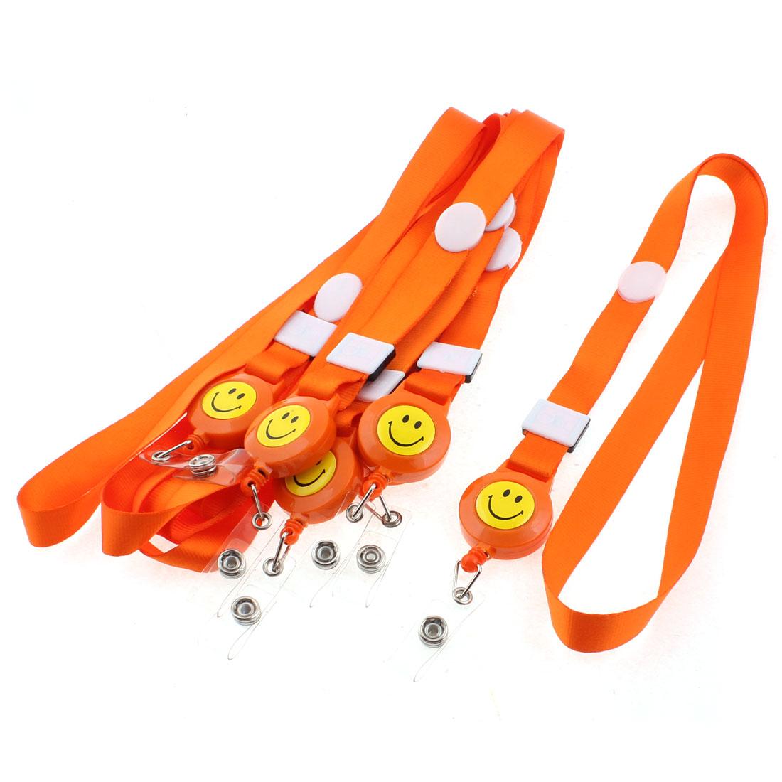 Smile Face Pattern Work Name ID Card Badge Holder Vertical Strap Orange 6PCS