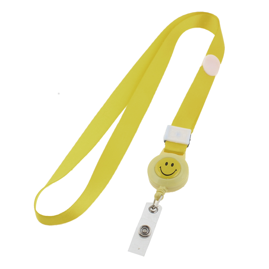 Smile Face Pattern Name Company Badge Holder ID Card Neck Strap Lanyard Yellow