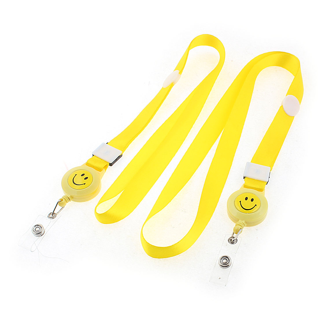 ID Name Employee Badge Card Holder Smile Face Pattern Neck Strap Yellow 2PCS