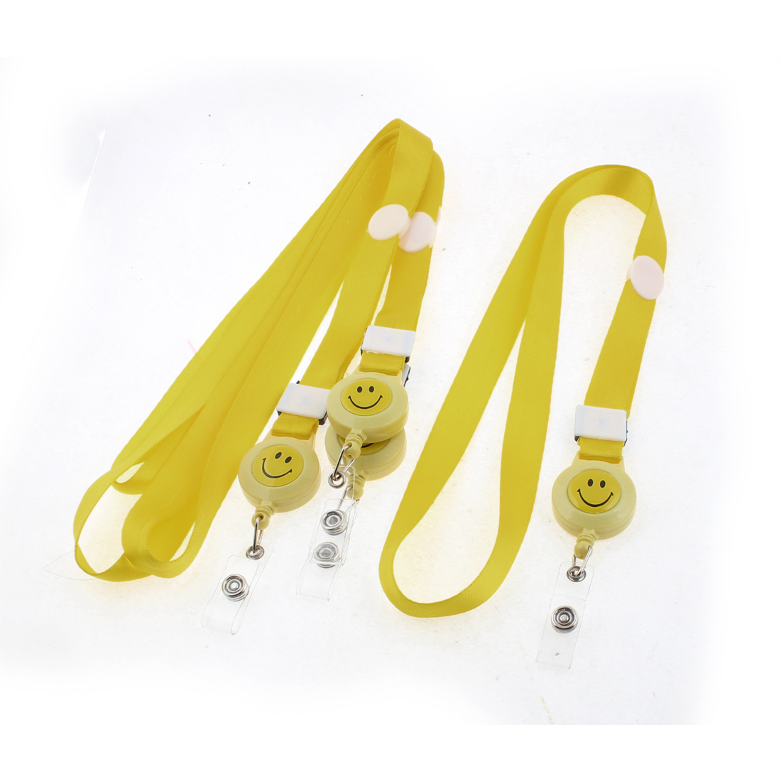 Work School Exhibition Badge ID Card Holder Lanyard Strap Yellow 4PCS