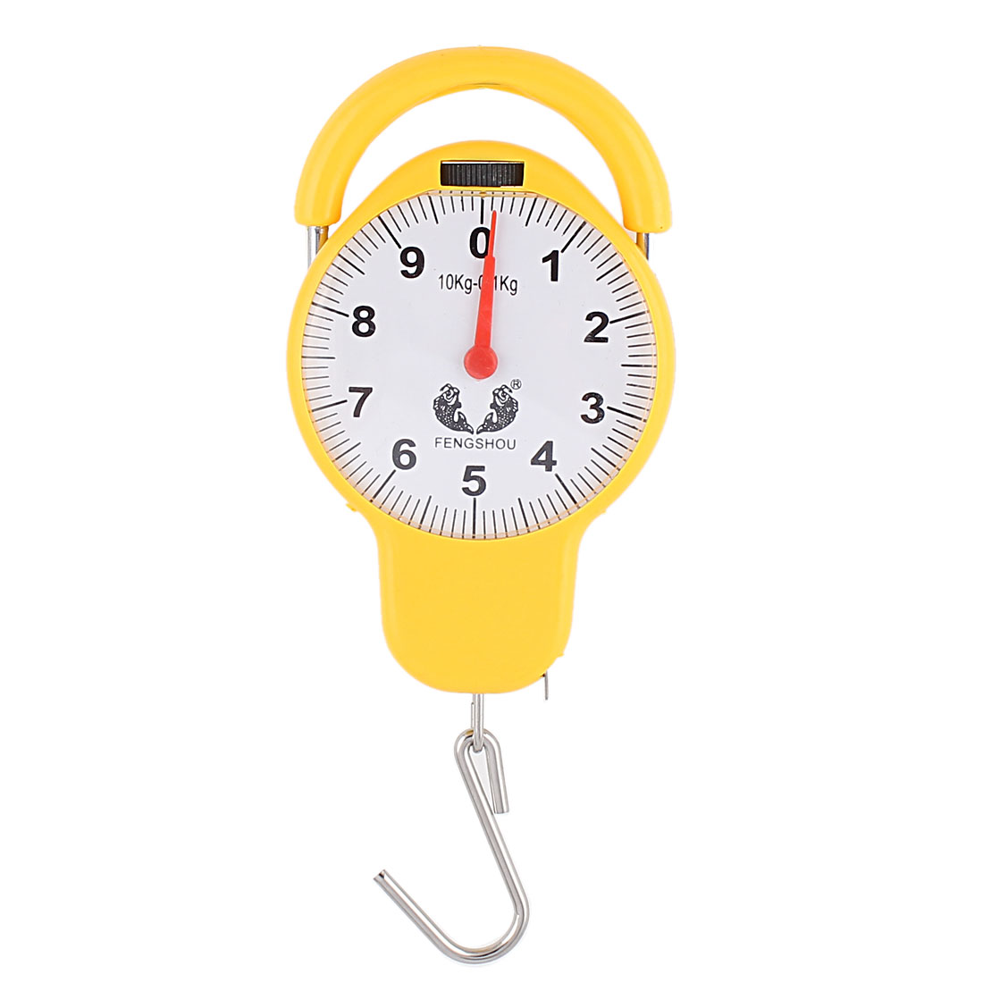 Yellow Fish Shape Round Dial Weight Luggage Analog Mechanical Hanging Scale 10kg 22lb