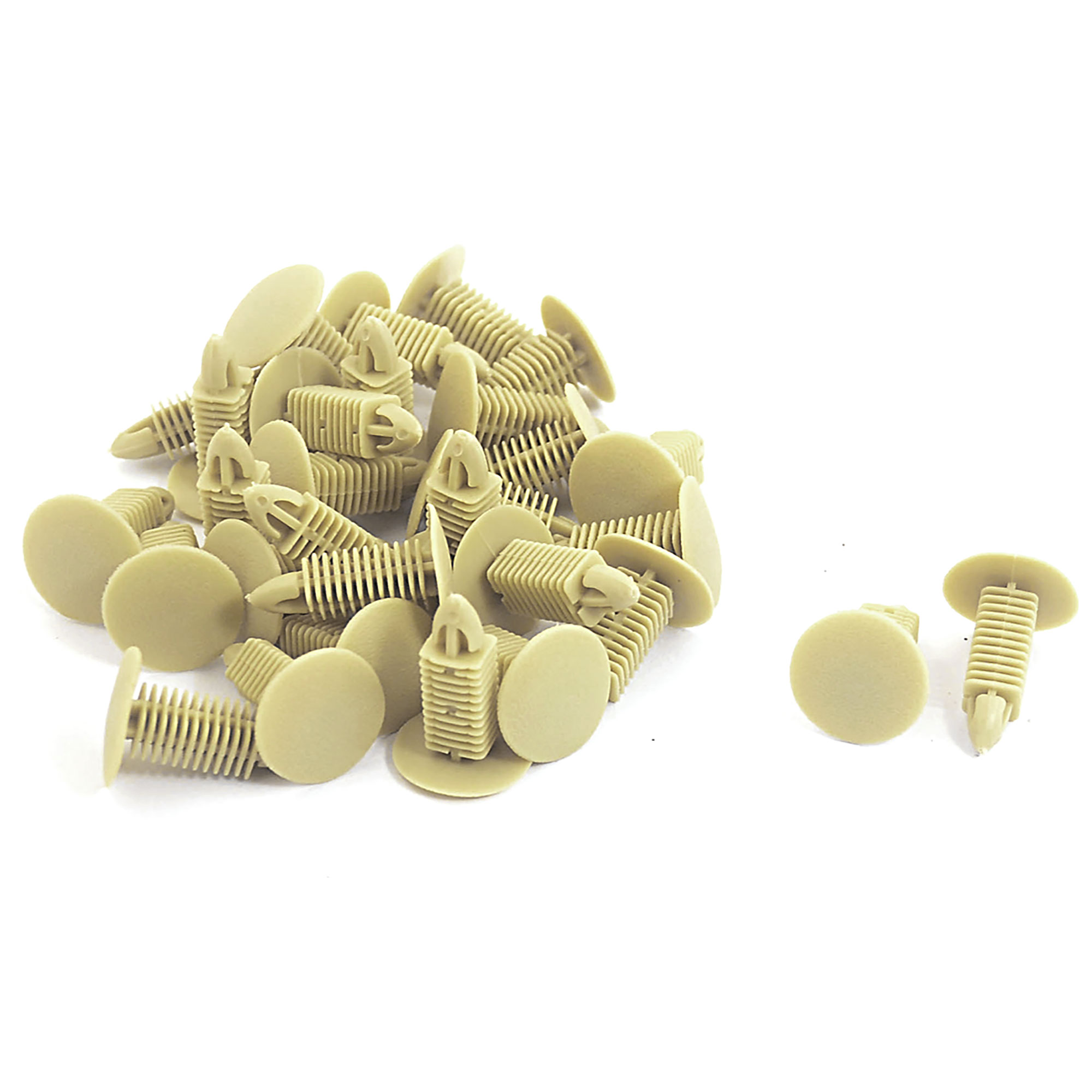 Car Auto Plastic Buckle Ceiling Trim Rivets Clips Khaki 30 Pcs