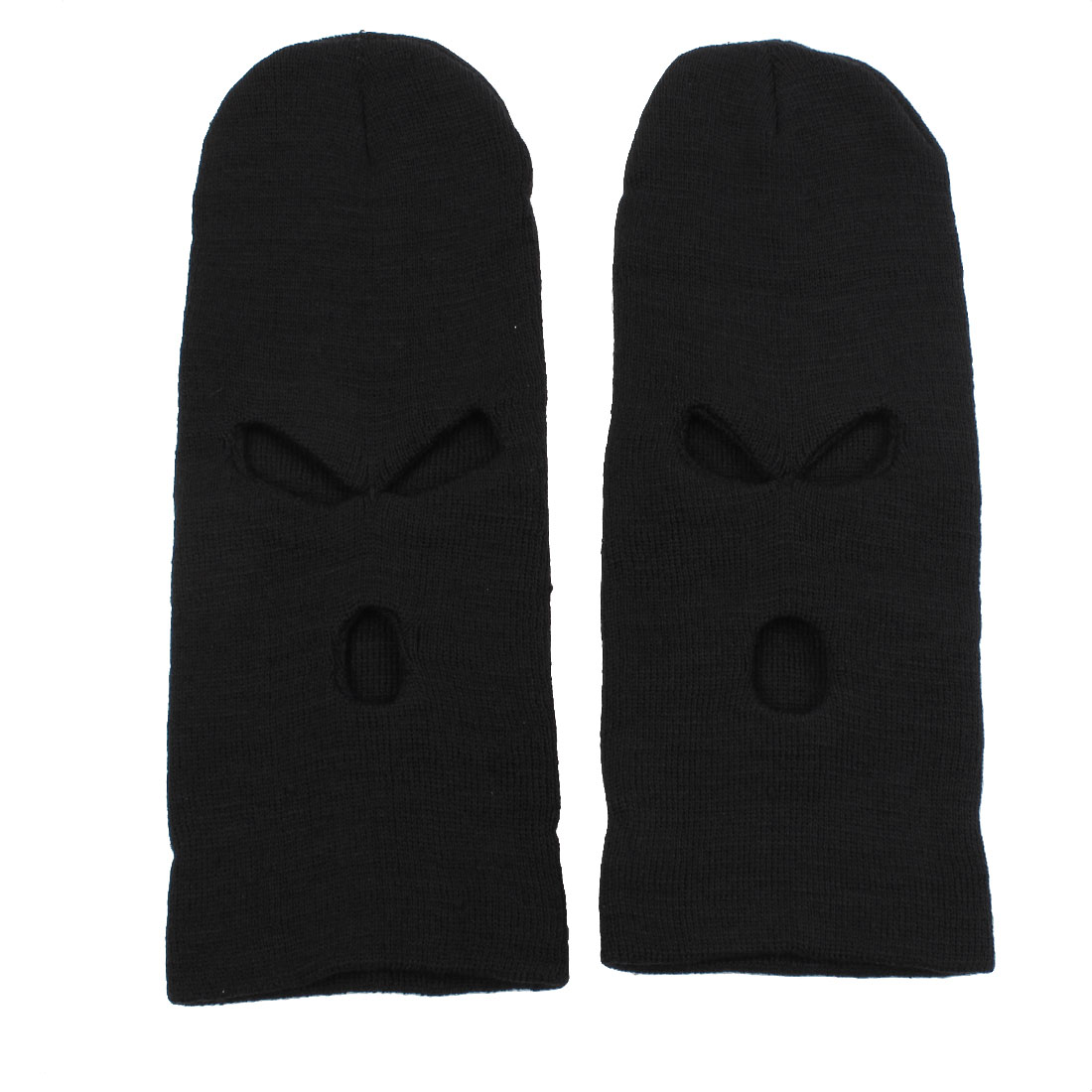 Ski Motorcycle Cover Winter Warmer Balaclava Hat Full Face 3 Holes Mask Cap Black 2PCS