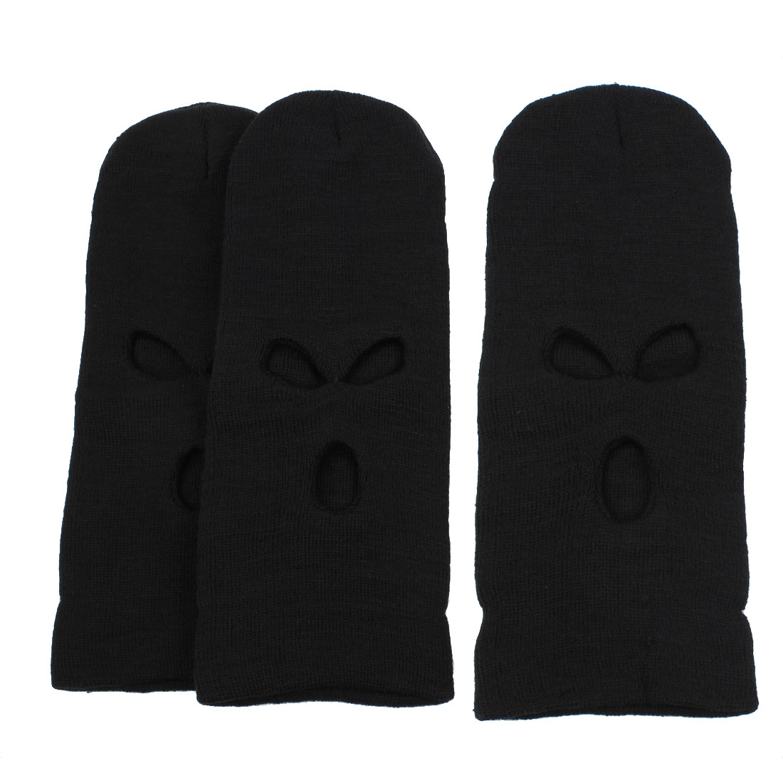 Winter Sports Cover Neck Scarf Full Face Mask Hood Cap Balaclava Hat Black 3PCS