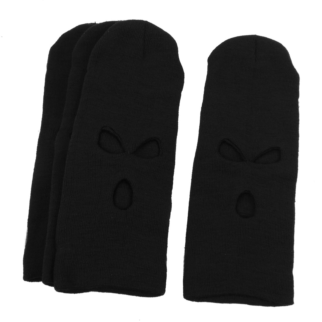 Ski Motorcycle Winter Thermal Balaclava Full Face Neck Knitted Hat Black 4PCS