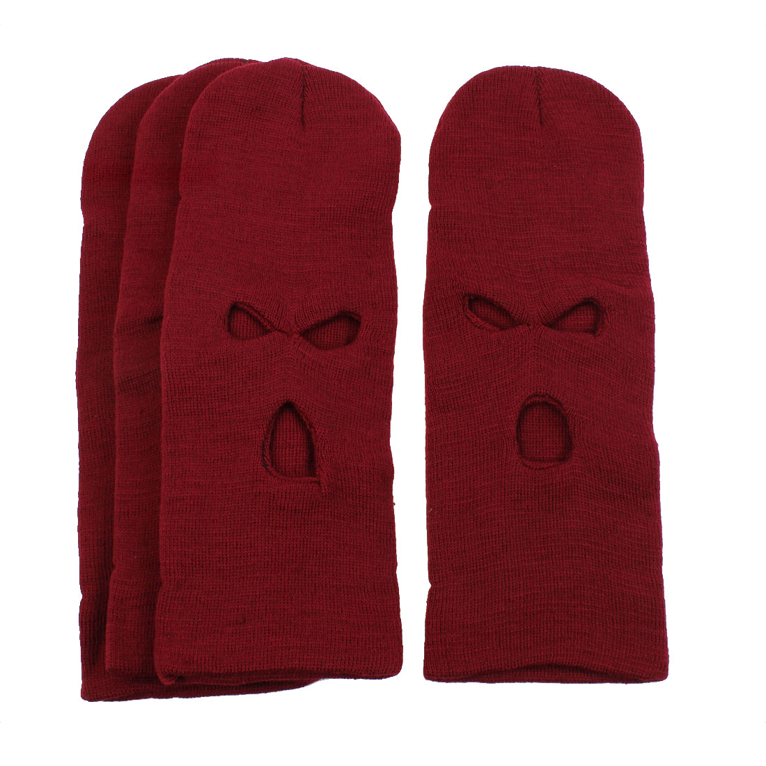 Face Neck Cover Winter Ski Motorcycle Warmer Balaclava Hat Cap Burgundy 4PCS