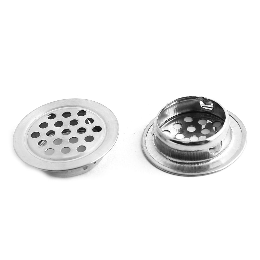 25mm Bottom Dia Round Flat Panel Cupboard Cabinet Air Vent Louver Cover 2pcs