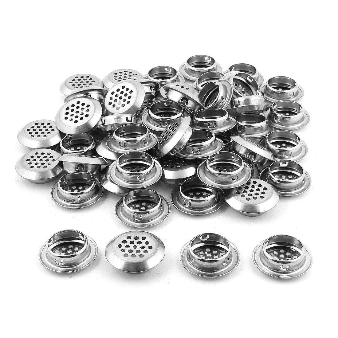Shoes Cabinet Louver 29mm Bottom Dia Round Panel Air Vent Cover Silver Tone 50PCS