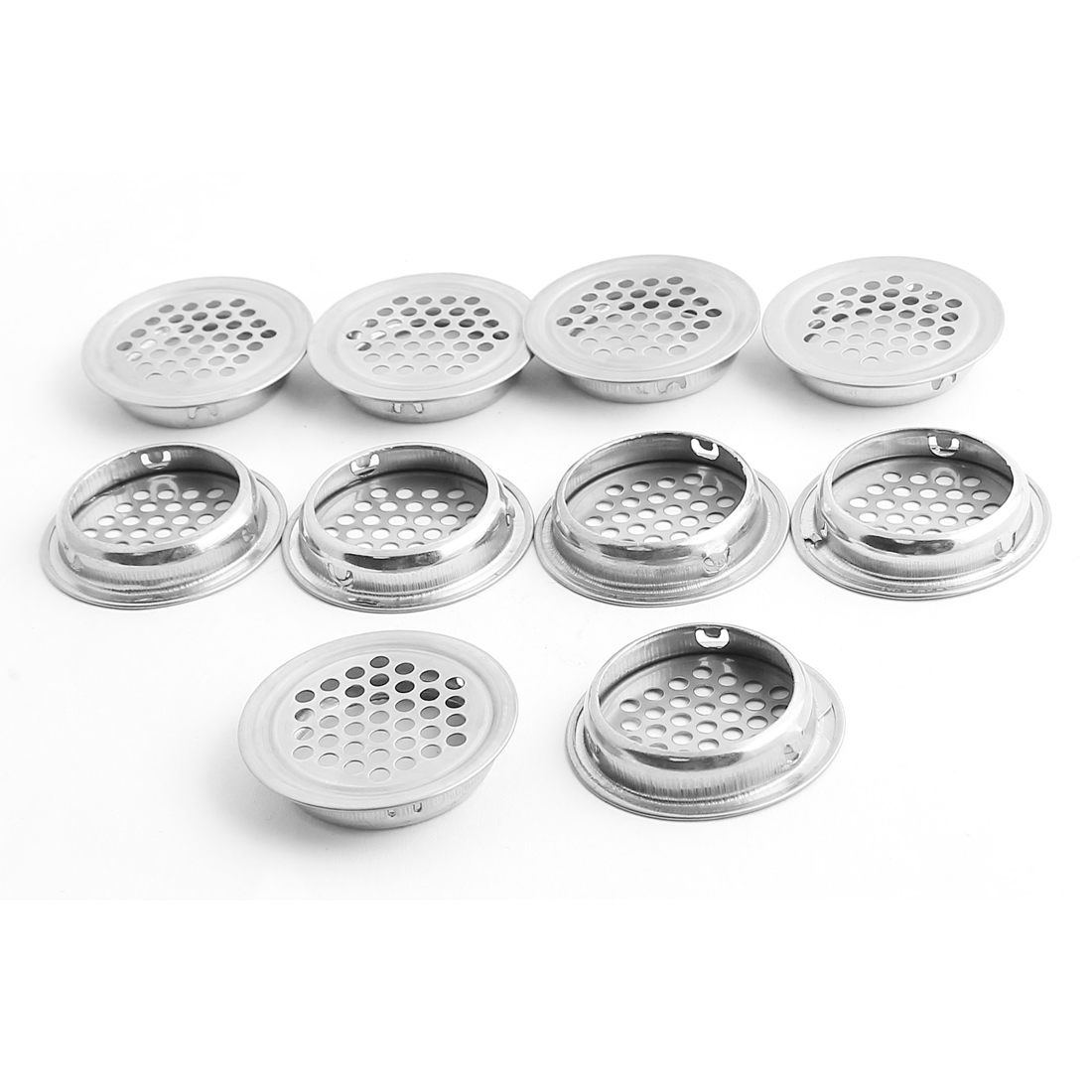 Furniture 35mm Bottom Dia Air Vent Grille Ventilation Cover Silver Tone 10PCS