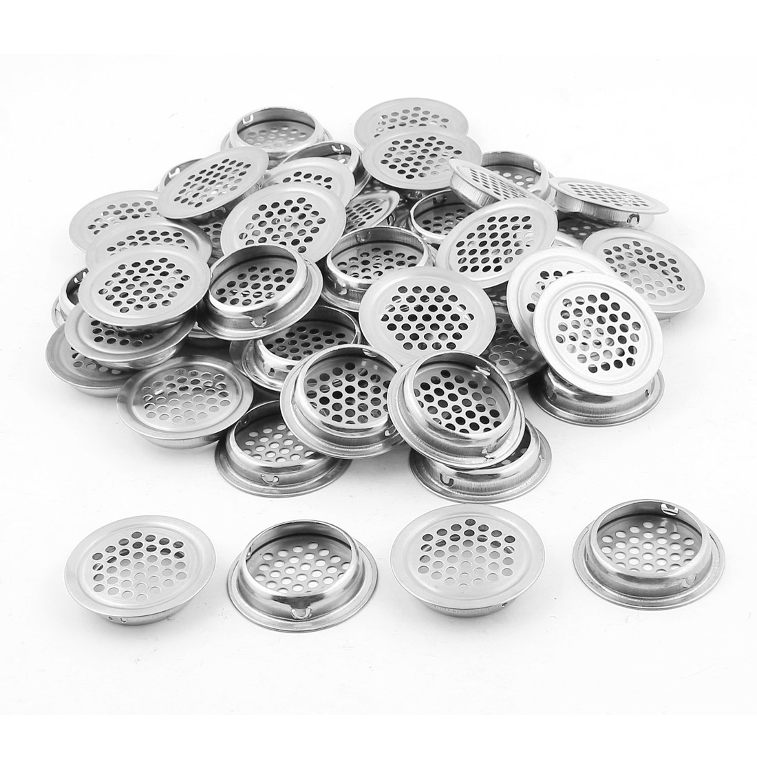 Furniture 35mm Bottom Dia Round Panel Air Vent Cover Silver Tone 50pcs
