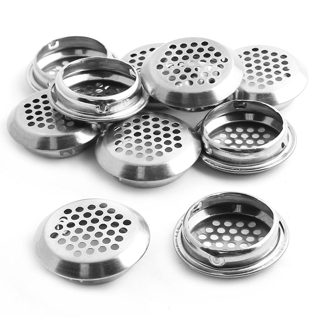 35mm Bottom Dia Metal Silver Tone Air Vent Louvred Holes Cover Ventilation 10PCS