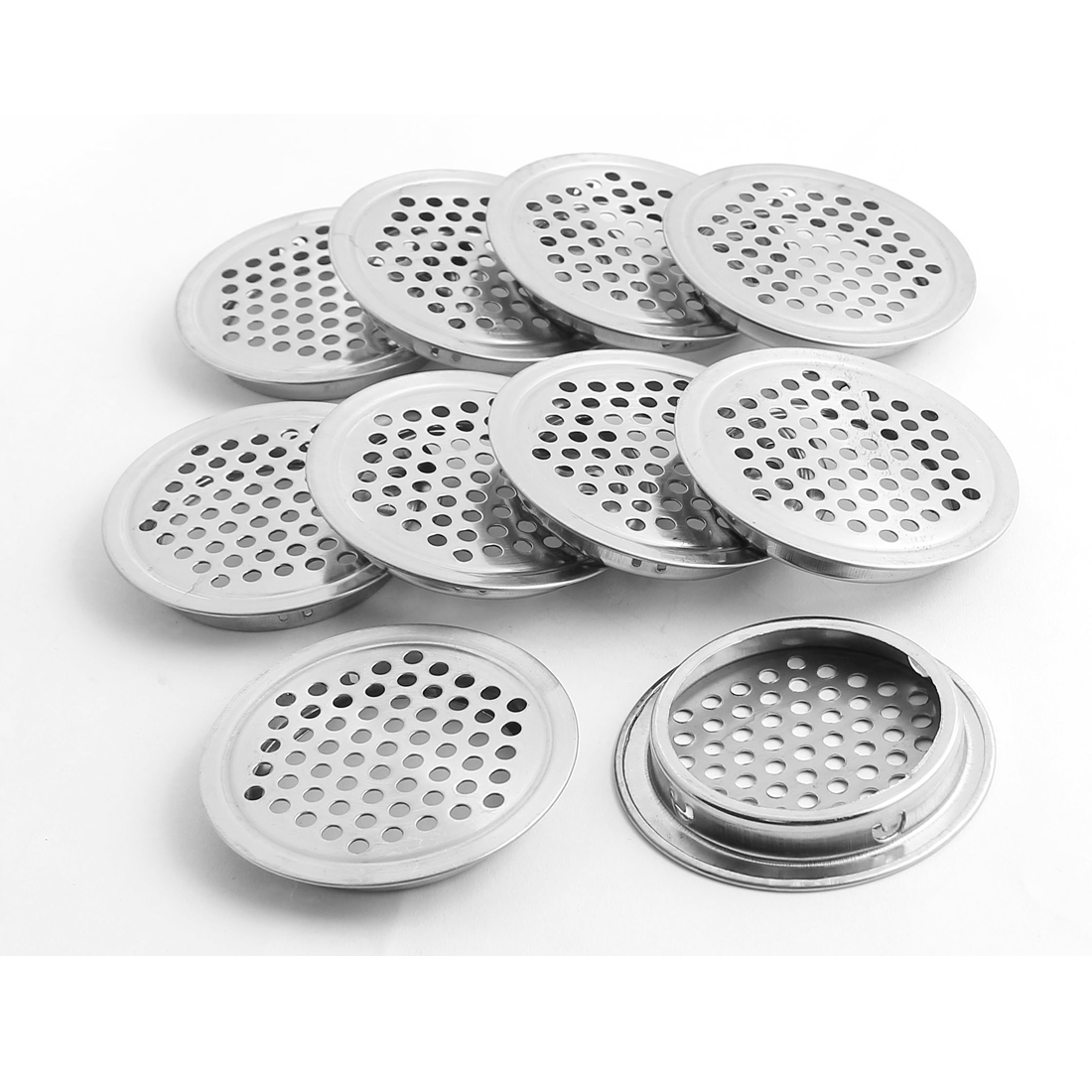 53mm Bottom Dia Round Flat Panel Cupboard Cabinet Air Vent Cover 10pcs