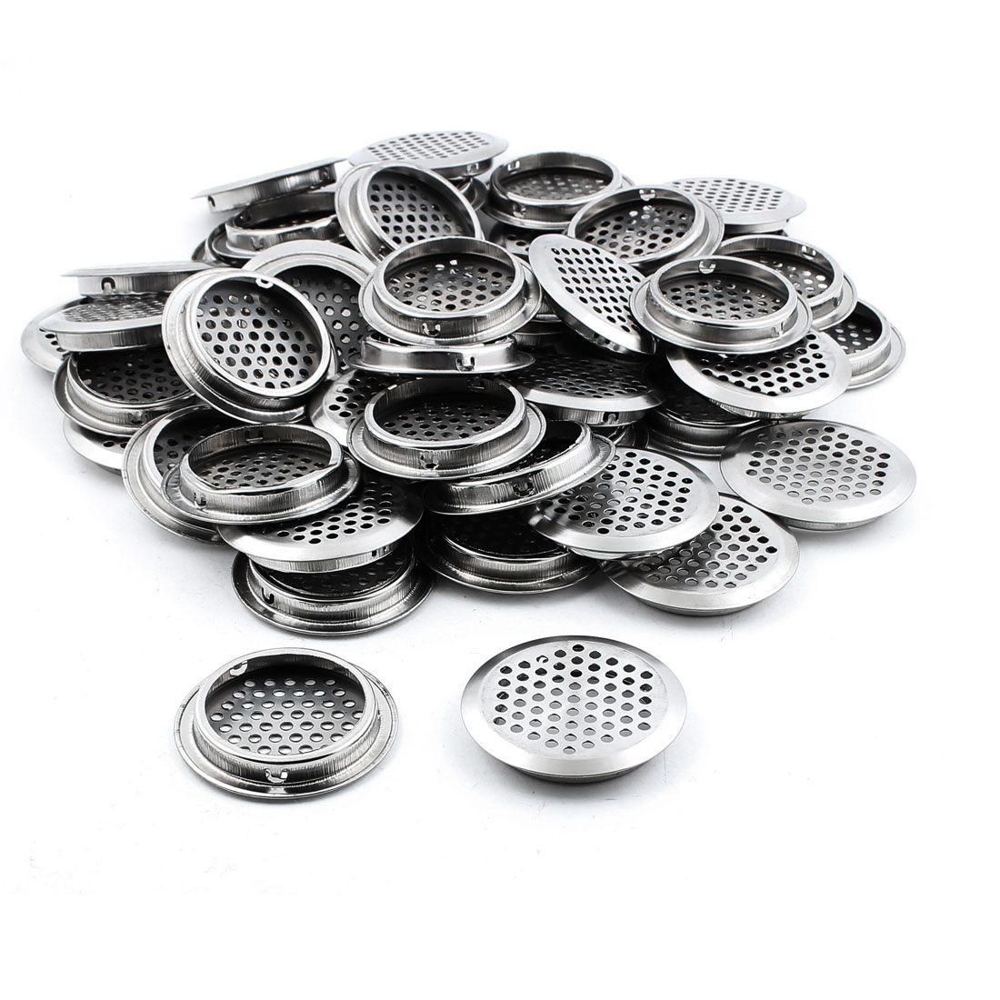 Furniture 53mm Bottom Dia Metal Round Blowholes Air Vent Cover 50PCS