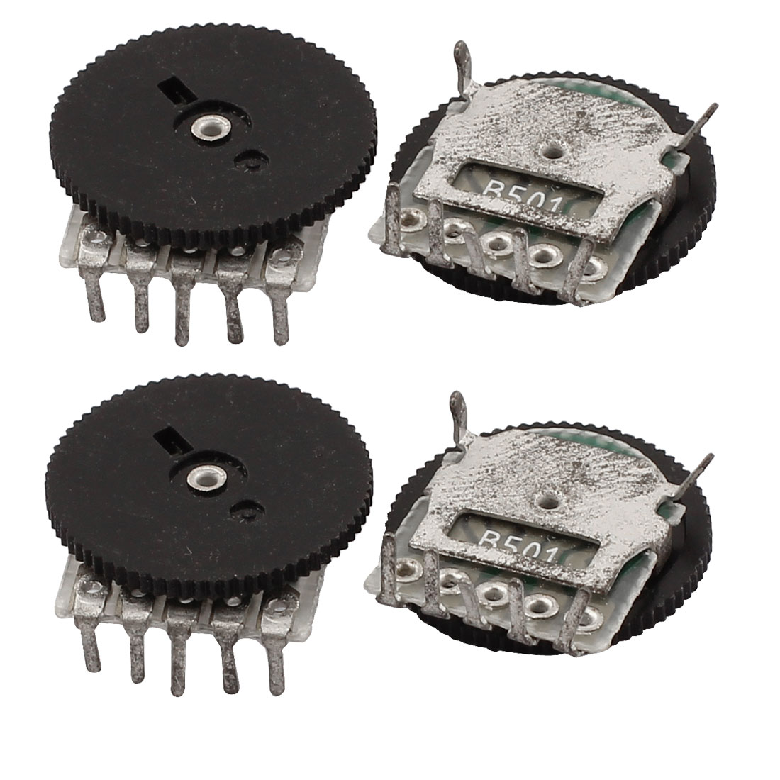 B501 500 Ohm 5 Terminals 14mm Dia Volume Single Linear Radio Dial Wheel Potentiometer 4PCS