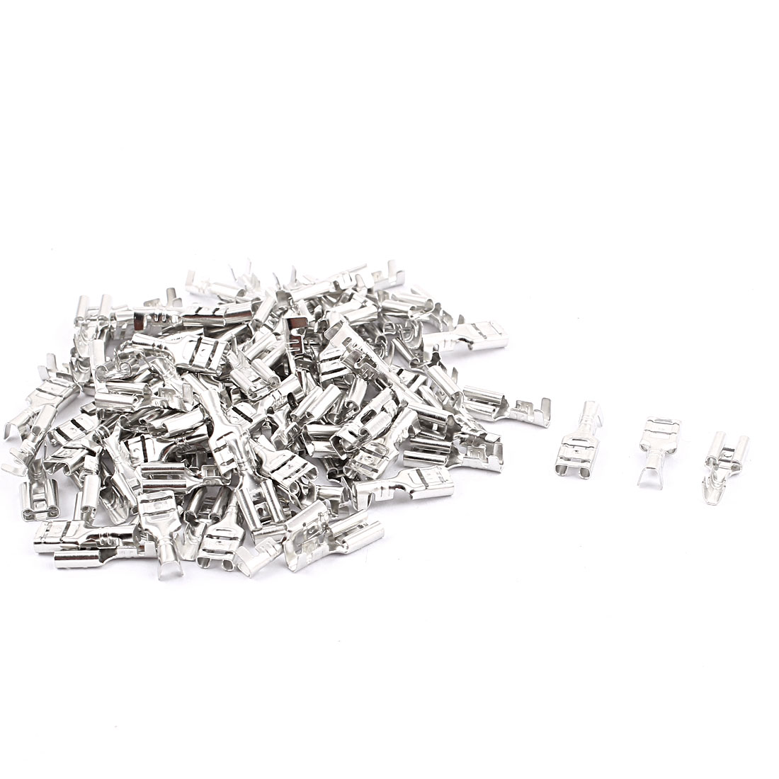 Electronic Components Non-Insulated Female Spade Terminals Connector 100PCS
