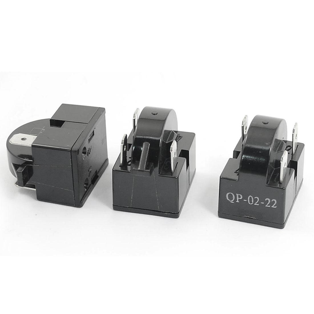 3PCS Plastic Shell 22 Ohm 3 Pins Refrigerator PTC Starter Relay Black