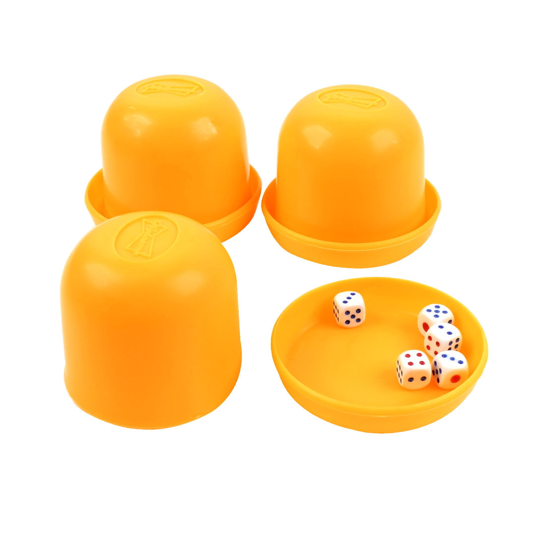 KTV Pub Game Toy Plastic Holder Shaking Cup Box Yellow 3PCS w Dices