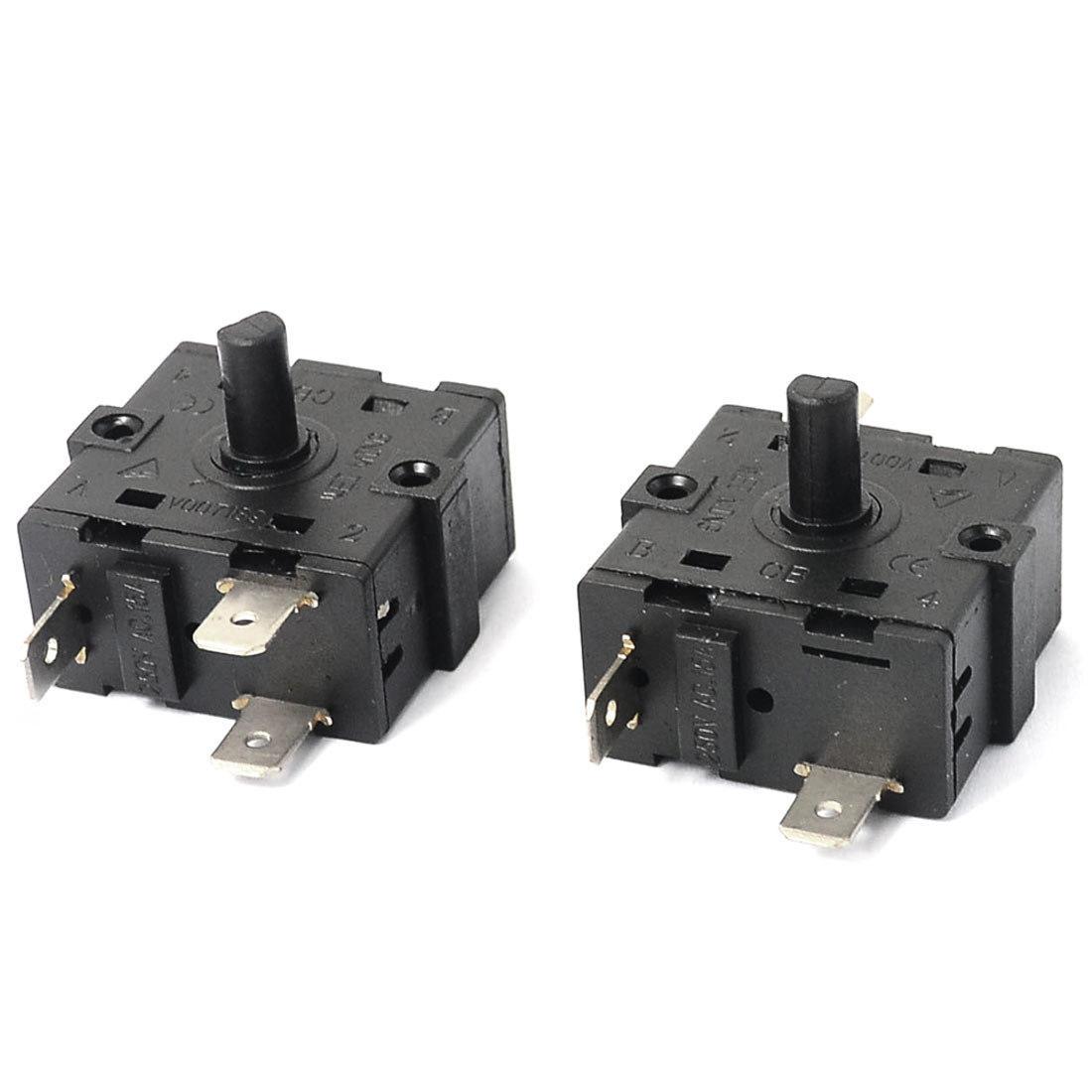 AC 250V 15A 5 Pins Rotary Switch Electric Heater Selector Replacement Black 2PCS