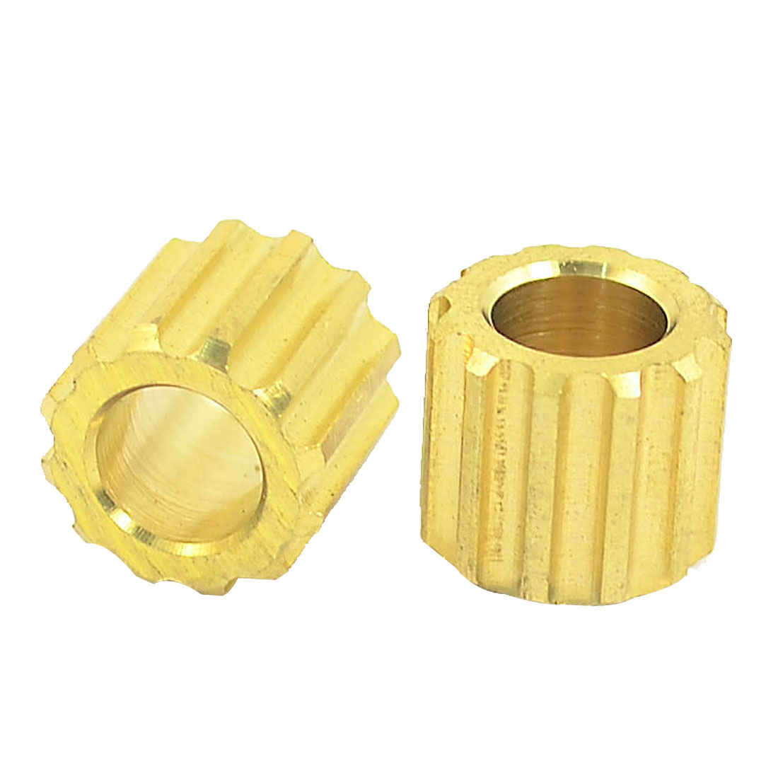 7mm Pore Dia 12 Tooth Motor Shaft Gear DIY Toys Parts Brass Tone 2PCS