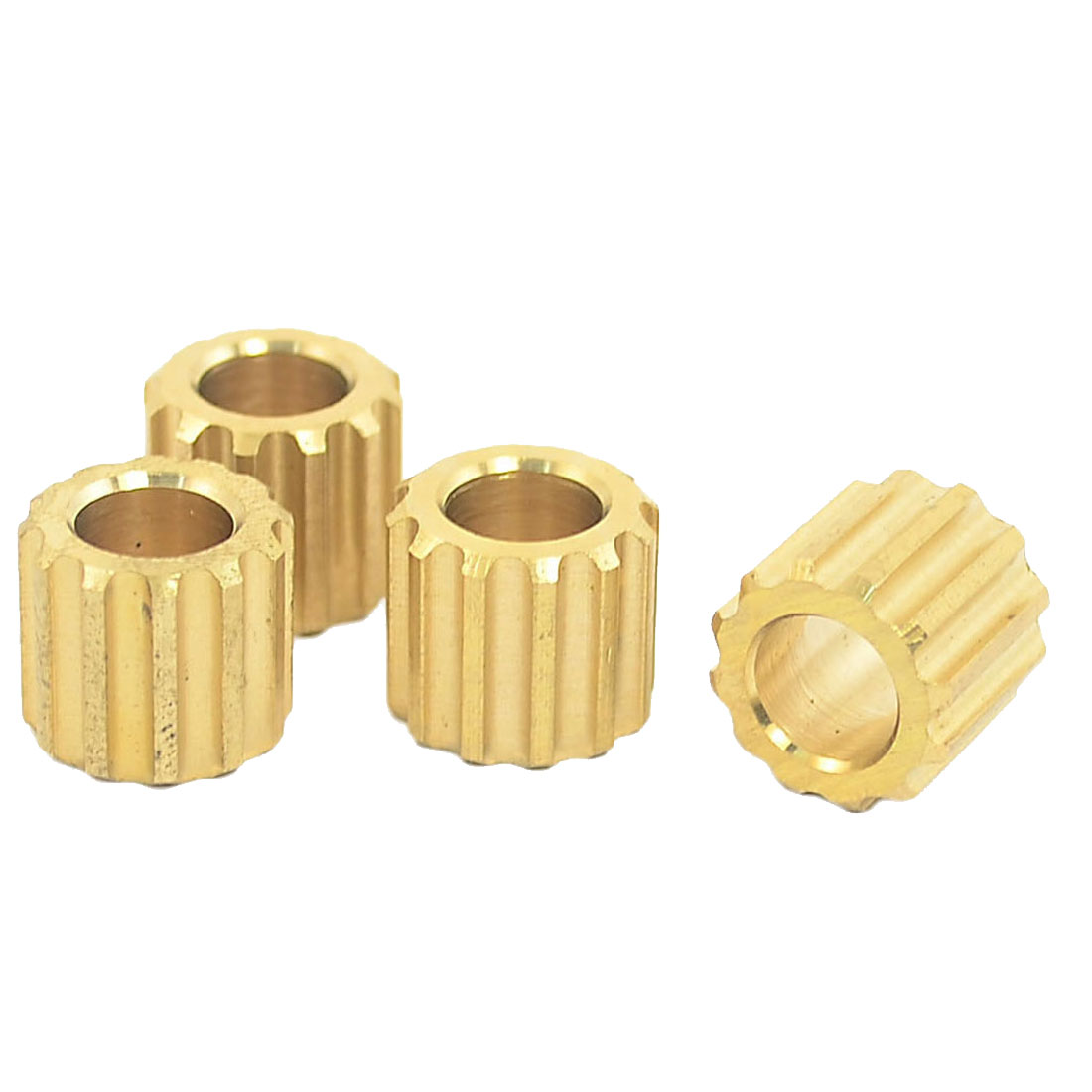 7mm Pore Dia 12 Tooth Motor Shaft Gear DIY Toys Parts Brass Tone 4PCS