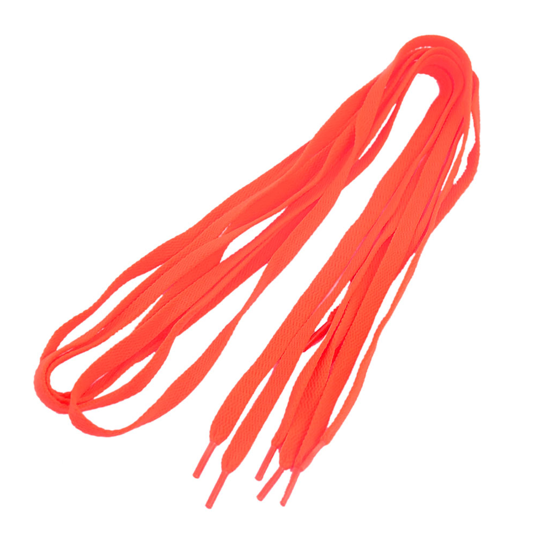 Plastic Tip Flat Shoelaces Sports Shoes Boots Sneakers Skates Shoe Lace String Orange 2 Pairs