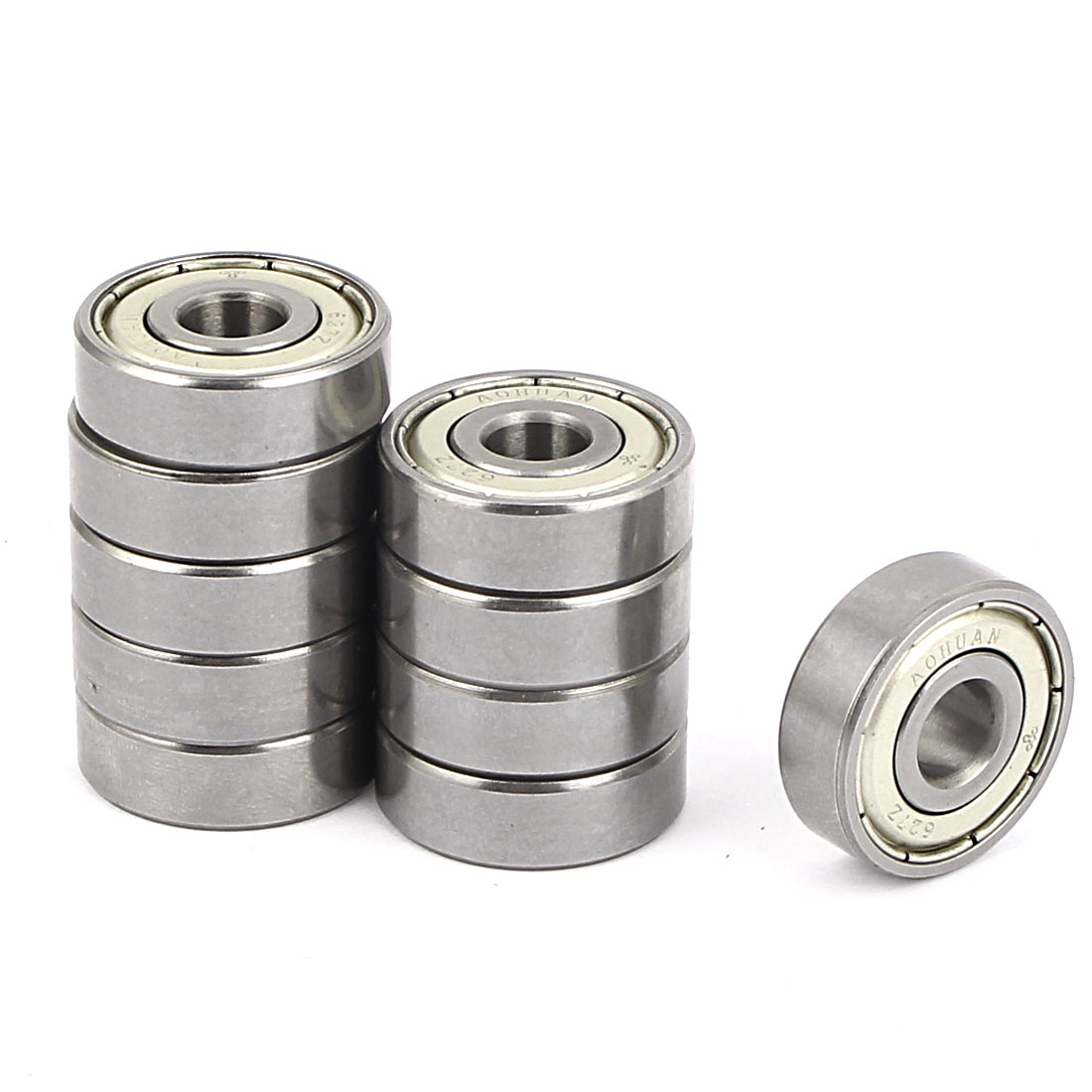 627Z Model 22mm x 7mm x 7mm Double Shielded Metal Deep Groove Guide Pulley Rail Ball Wheel Bearings Silver Tone 10pcs