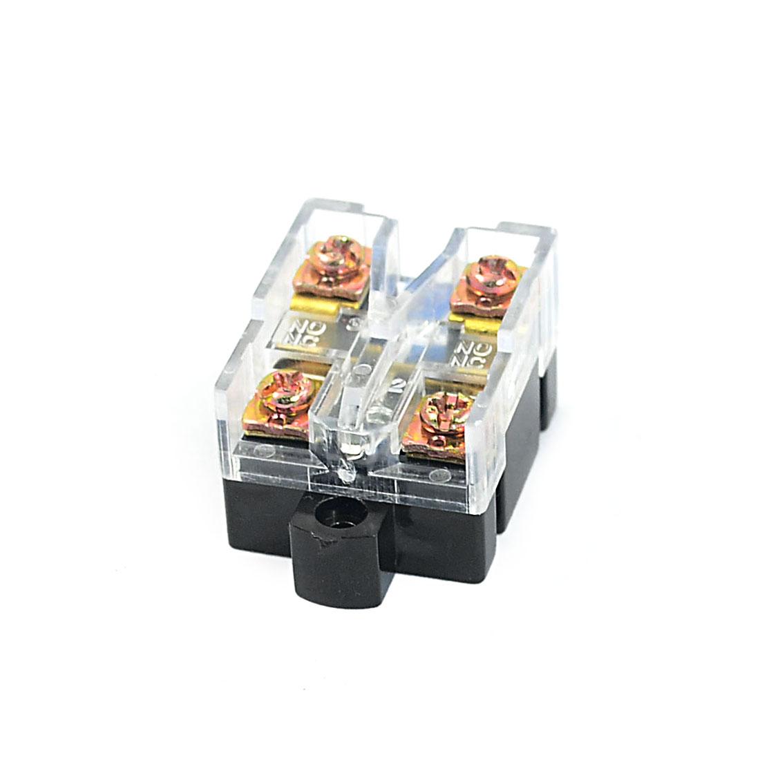 250V Plastic Housing DPST 4 Screw Terminals Button Actuator Limit Switch Black