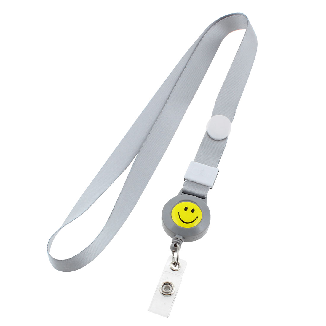 Smile Face Pattern Office Employee Work ID Card Holder Neck Strap Gray