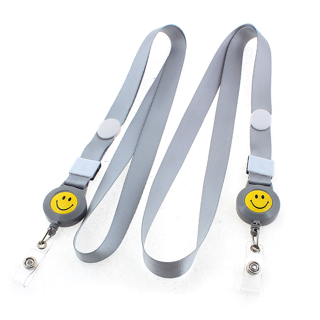 Work Name ID Card Badge Holder Smile Face Pattern Neck Strap Gray 2PCS