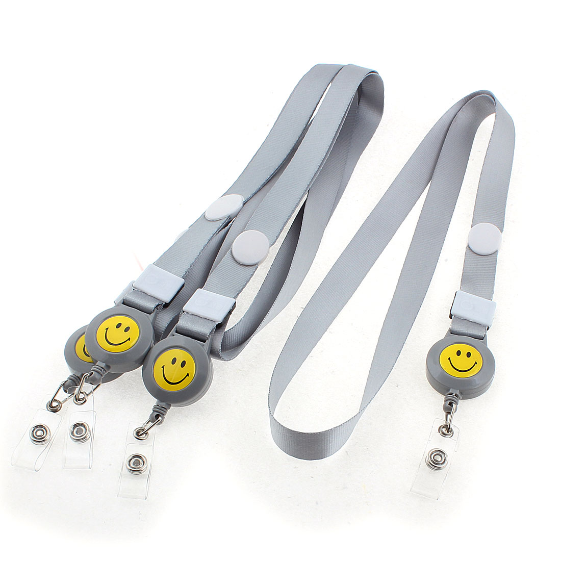 Smile Face Pattern Name Position Badge ID Card Holder Neck Strap Gray 4PCS
