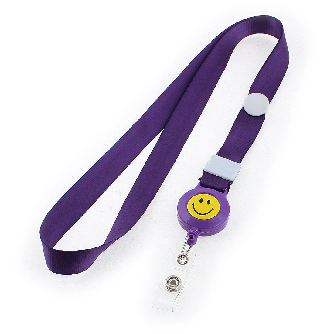 Smile Face Pattern Lanyard Exhibition Company Name Badge ID Card Neck Strap Purple