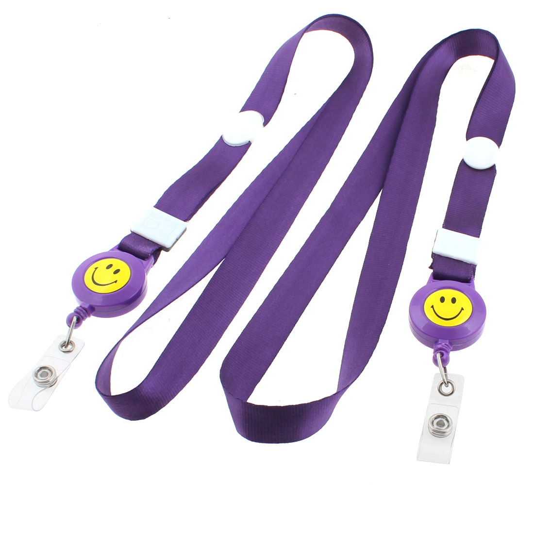 Work School ID Card Badge Holder Smile Face Pattern Neck Strap Purple 2PCS
