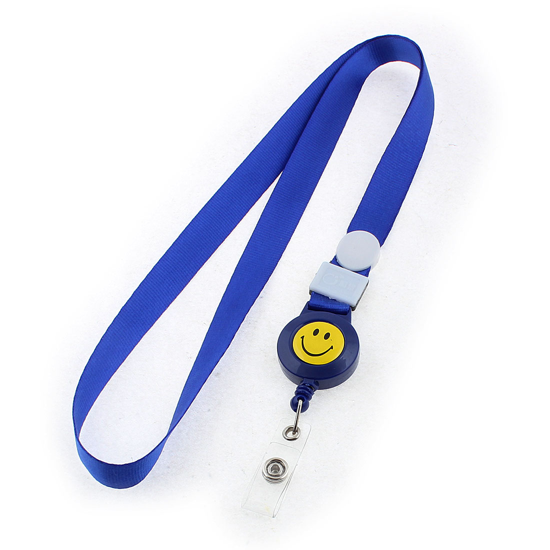 Smile Face Pattern Office Business Badge ID Card Holder Neck Strap Royal Blue