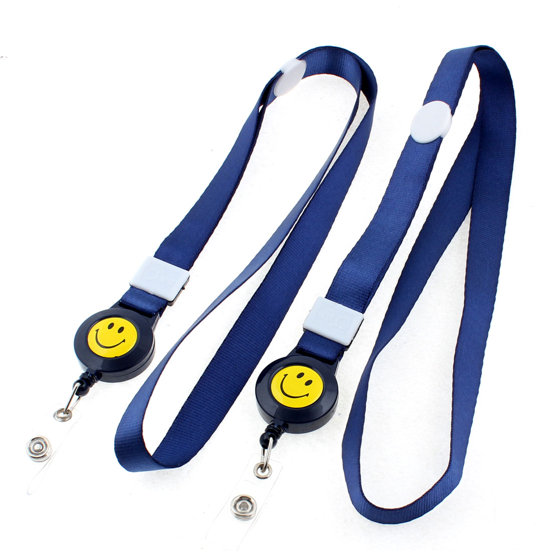 Work School Name ID Card Badge Holder Neck Strap Dark Blue 2PCS