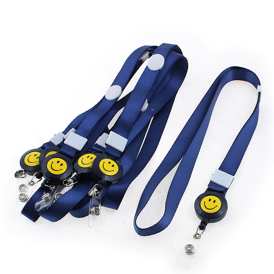Smile Face Pattern Employee Name ID Card Tag Holder Neck Strap Dark Blue 6PCS