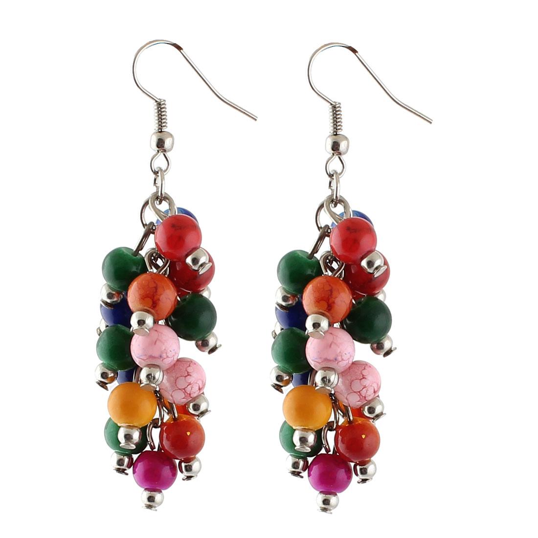 Lady Plastic Multicolor Beads Pendant Fish Hook Earrings Ornaments Pair