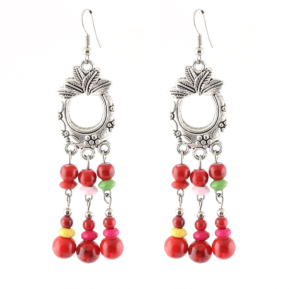 Woman Plastic Dangling Bead Pendant National Customs Style Fish Hook Earrings Pair