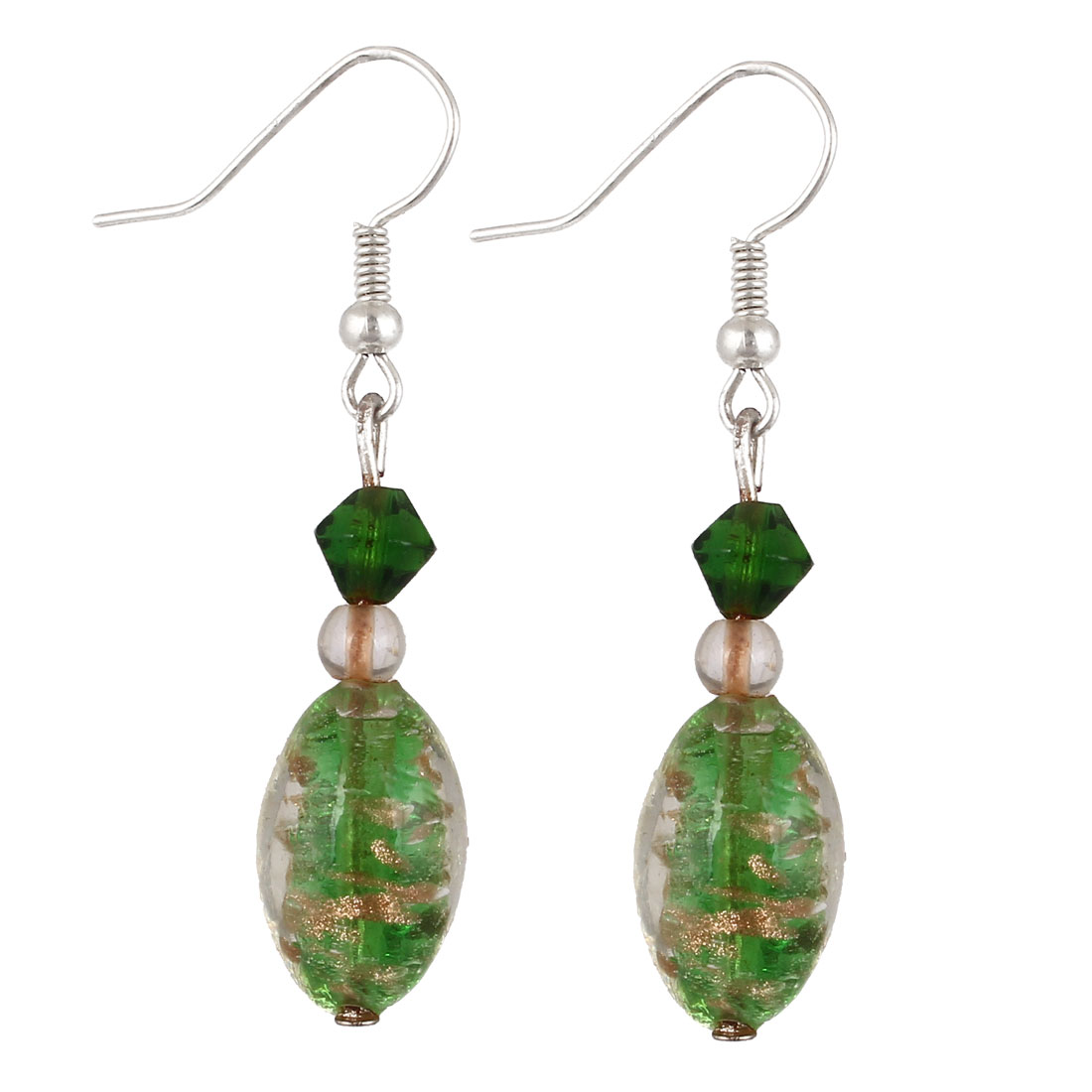 Lady Plastic Beaded Rhombus Pendant Fish Hook Earrings Green Pair